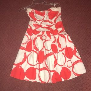 strapless red and white circle print dress